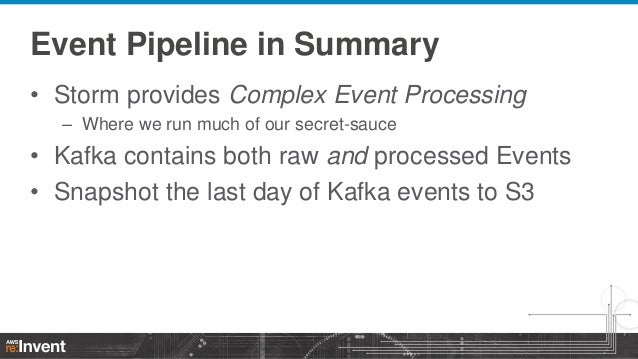 Event Pipeline in Summary • Storm provides Complex Event Processing – Where we run much of our secret-sauce  • Kafka conta...