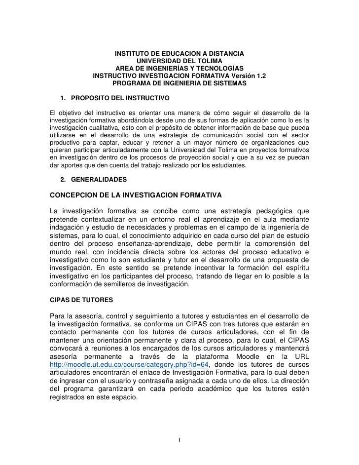 INSTITUTO DE EDUCACION A DISTANCIA                           UNIVERSIDAD DEL TOLIMA                     AREA DE INGENIERÍA...
