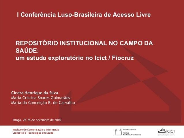 Cícera Henrique da Silva Maria Cristina Soares Guimarães Maria da Conceição R. de Carvalho REPOSITÓRIO INSTITUCIONAL NO CA...