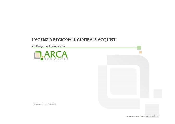 L'AGENZIA REGIONALE CENTRALE ACQUISTIdi Regione LombardiaMilano, 01/10/2012                                        www.arc...