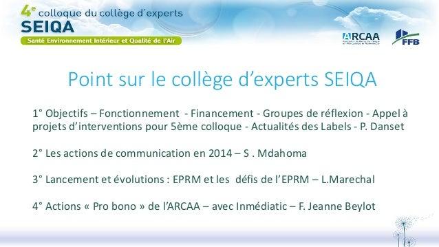 Point sur le collège d'experts SEIQA 1° Objectifs – Fonctionnement - Financement - Groupes de réflexion - Appel à projets ...