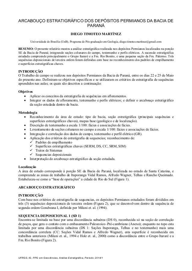 UFRGS, IG, PPG em Geociências, Análise Estratigráfica, Periodo: 2014/1 ARCABOUÇO ESTRATIGRÁFICO DOS DEPÓSITOS PERMIANOS DA...