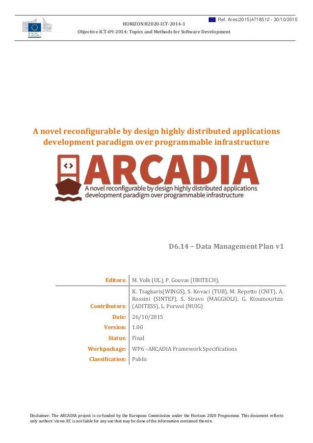 Arcadia project- D ata Management Plan