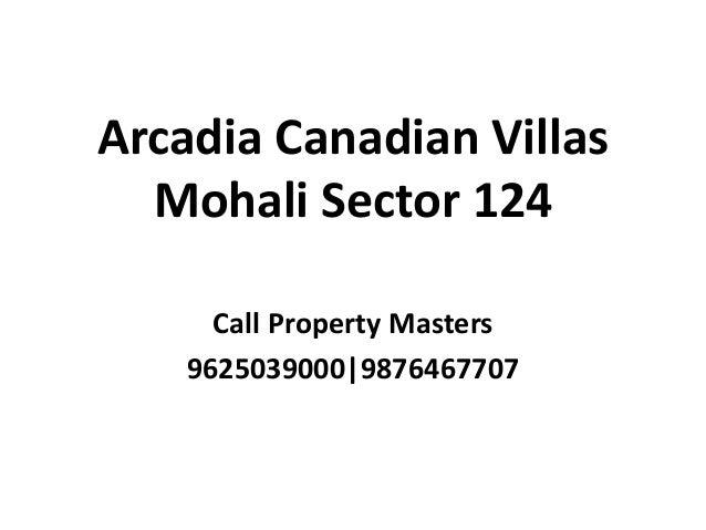 Arcadia Canadian Villas Mohali Sector 124 Call Property Masters 9625039000|9876467707