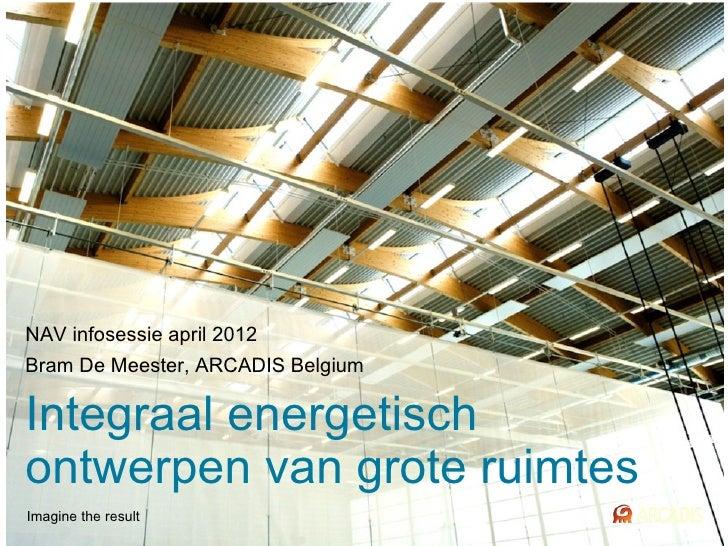 NAV infosessie april 2012Bram De Meester, ARCADIS BelgiumIntegraal energetischontwerpen van grote ruimtesImagine the result