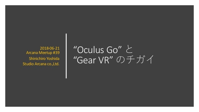 """Oculus Go"" ""Gear VR"" 2018-06-21 Arcana Meetup #39 Shinichiro Yoshida Studio Arcana co.,Ltd."