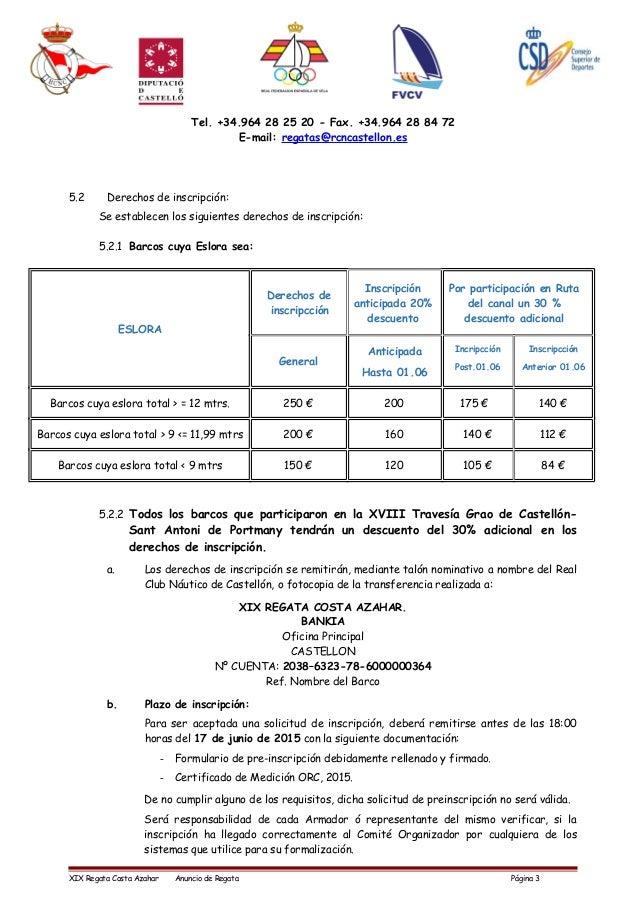Tel. +34.964 28 25 20 - Fax. +34.964 28 84 72 E-mail: regatas@rcncastellon.es 5.2 Derechos de inscripción: Se establecen l...