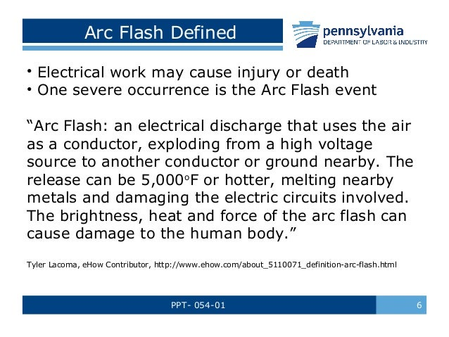 arc flash safety training by pennsylvania department of With arc flash definition osha