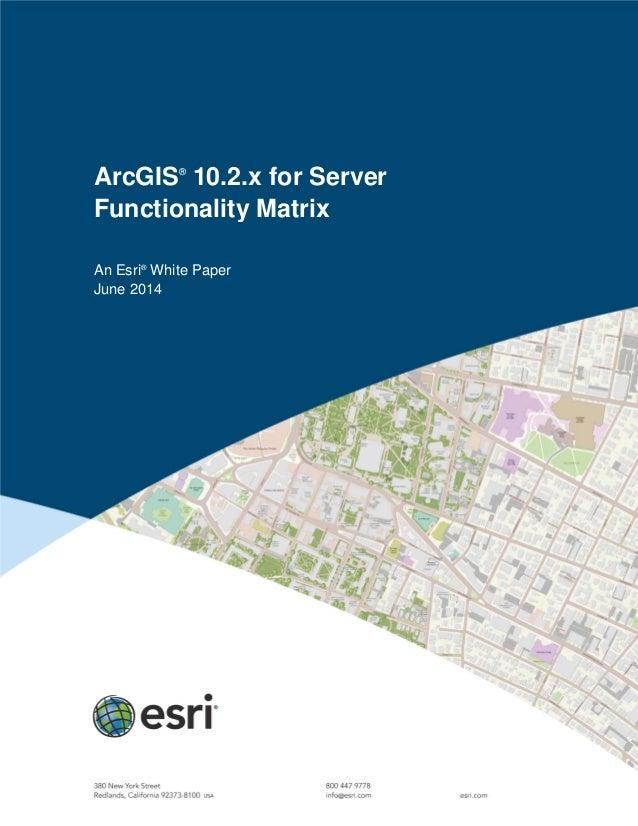 ArcGIS® 10.2.x for Server Functionality Matrix An Esri® White Paper June 2014