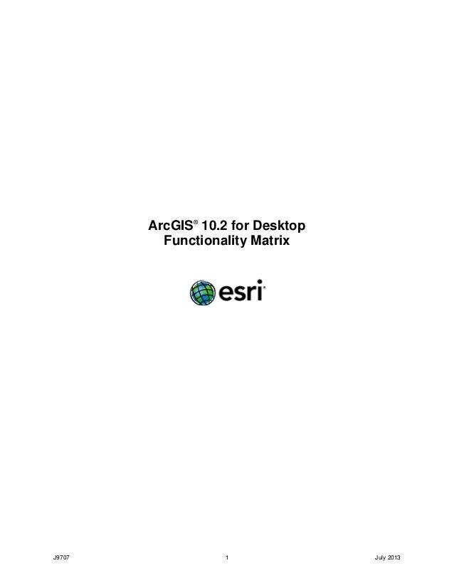 J9707 1 July 2013 ArcGIS® 10.2 for Desktop Functionality Matrix