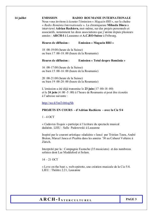 14 juillet EMISSION RADIO ROUMANIE INTERNATIONALE Nous vous invitons à écouter l'émission « Magazin RRI », sur la chaîne «...