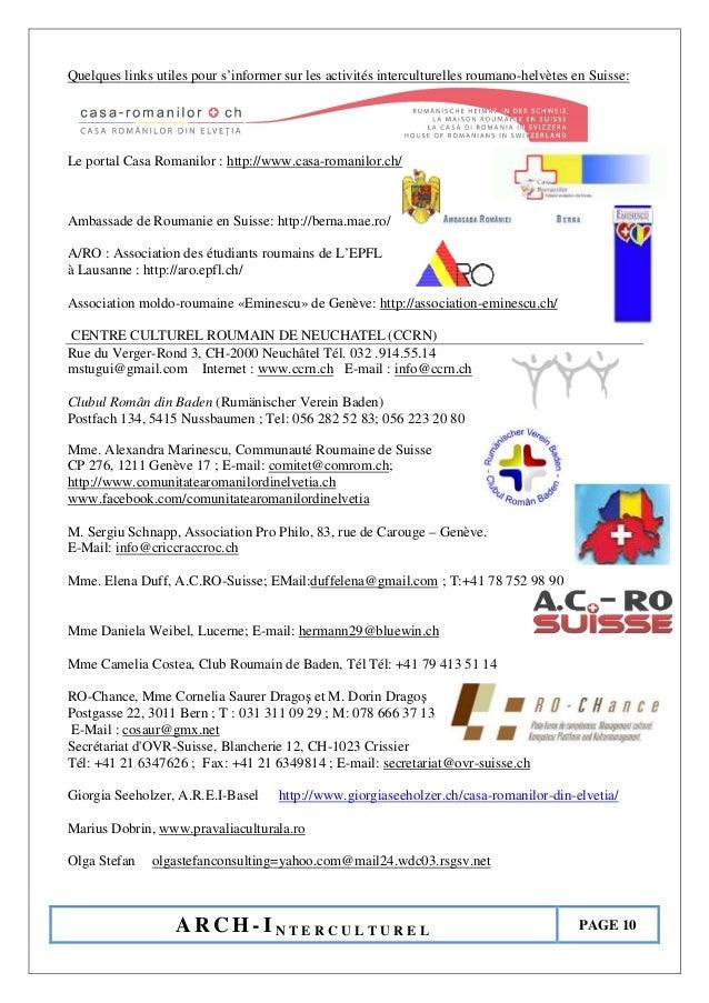 A R C H - I N T E R C U L T U R E L PAGE 10 Quelques links utiles pour s'informer sur les activités interculturelles rouma...