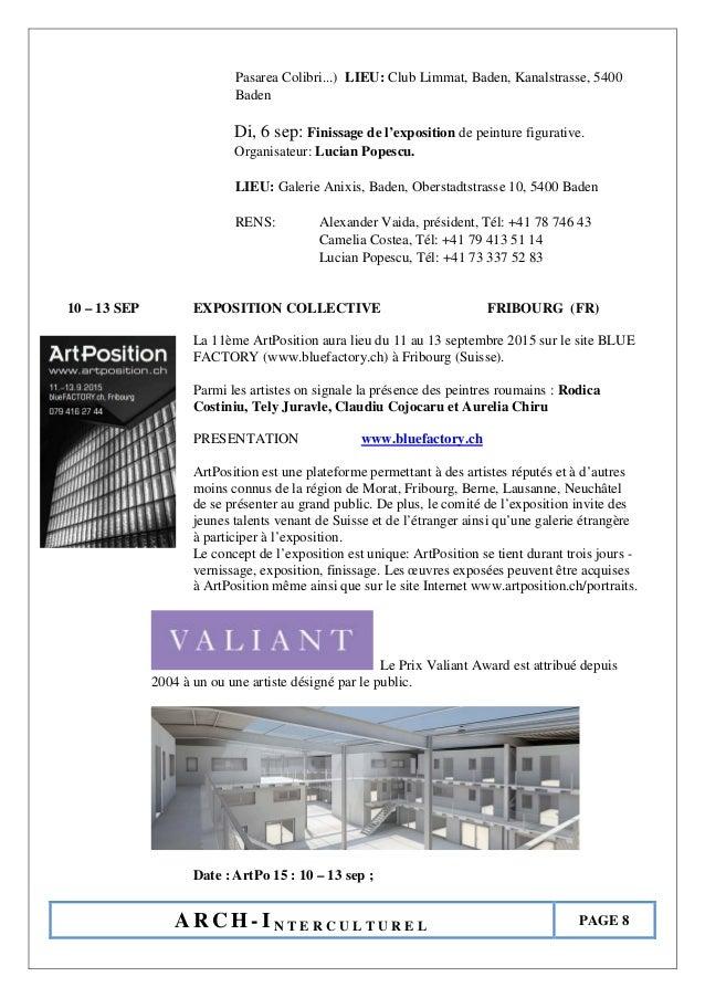 A R C H - I N T E R C U L T U R E L PAGE 8 Pasarea Colibri...) LIEU: Club Limmat, Baden, Kanalstrasse, 5400 Baden Di, 6 se...