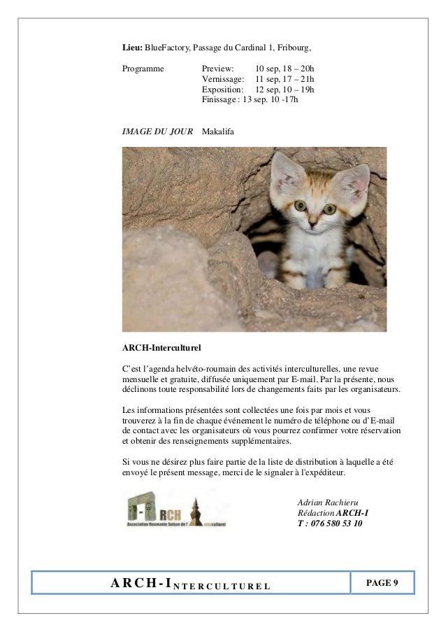 A R C H - I N T E R C U L T U R E L PAGE 9 Lieu: BlueFactory, Passage du Cardinal 1, Fribourg, Programme Preview: 10 sep, ...