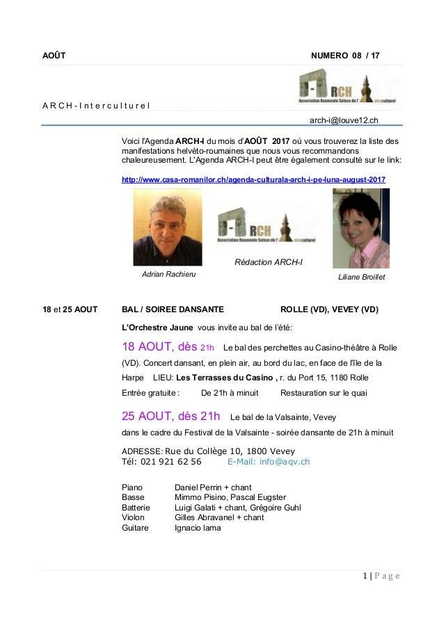 1|P a g e   AOÛT NUMERO 08 / 17 A R C H - I n t e r c u l t u r e l arch-i@louve12.ch Voici l'Agenda ARCH-I du mois d'...