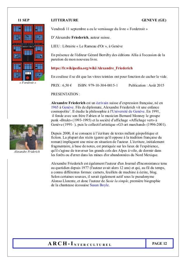 11 SEP LITTERATURE GENEVE (GE) Vendredi 11 septembre a eu le vernissage du livre « Fordetroit » D'Alexandre Friederich, au...
