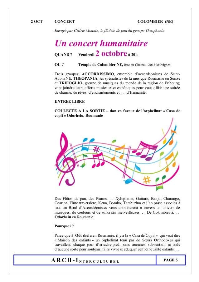 2 OCT CONCERT COLOMBIER (NE) Envoyé par Cédric Monnin, le flûtiste de pan du groupe Theophania Un concert humanitaire QUAN...