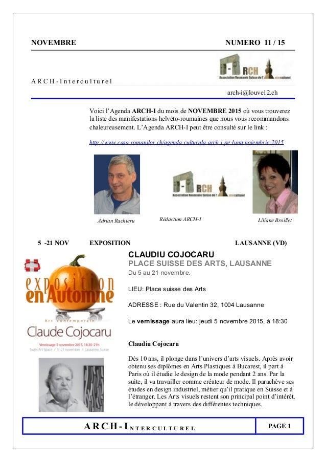 NOVEMBRE NUMERO 11 / 15 A R C H - I n t e r c u l t u r e l arch-i@louve12.ch Voici l'Agenda ARCH-I du mois de NOVEMBRE 20...