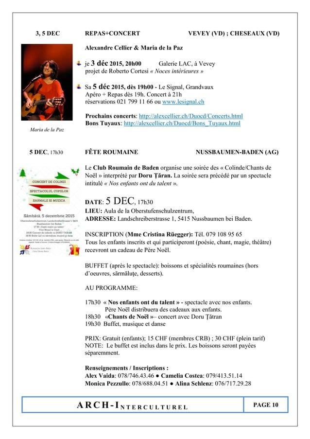 A R C H - I N T E R C U L T U R E L PAGE 10 3, 5 DEC REPAS+CONCERT VEVEY (VD) ; CHESEAUX (VD) Alexandre Cellier & Maria de...