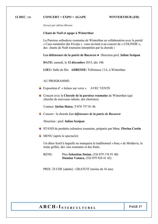 A R C H - I N T E R C U L T U R E L PAGE 17 12 DEC, 18h CONCERT + EXPO + AGAPE WINTERTHUR (ZH) Envoyé par Adrian Moraru Ch...