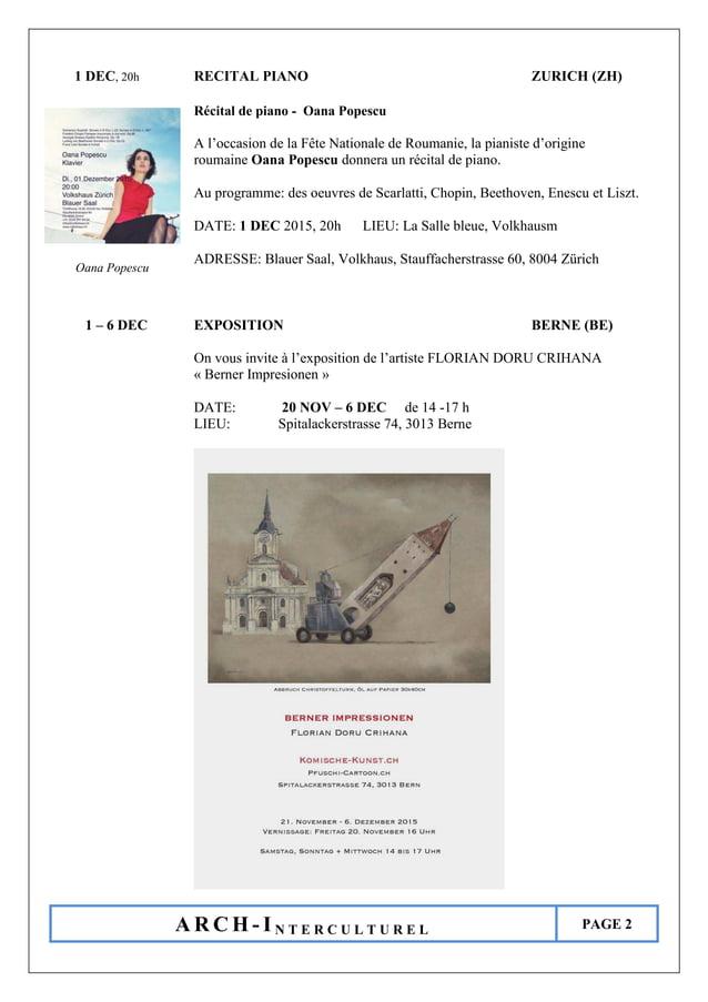 A R C H - I N T E R C U L T U R E L PAGE 2 1 DEC, 20h RECITAL PIANO ZURICH (ZH) Récital de piano - Oana Popescu A l'occasi...