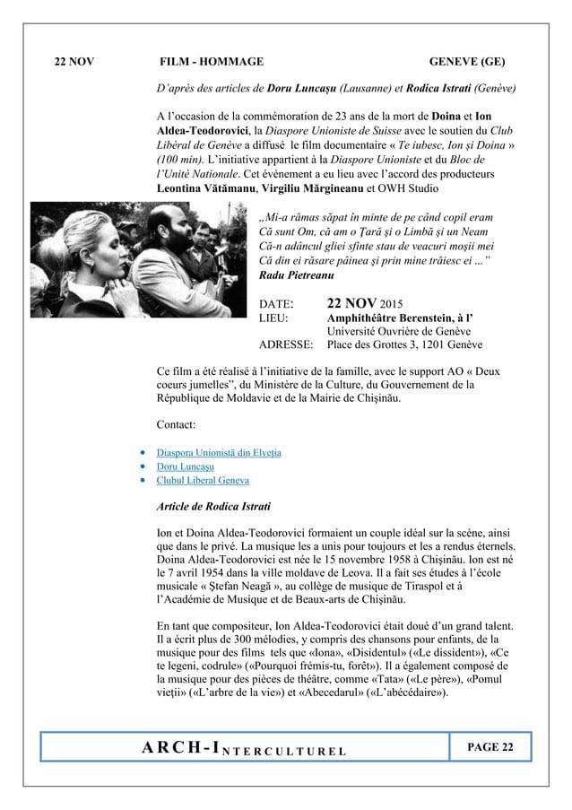 A R C H - I N T E R C U L T U R E L PAGE 22 22 NOV FILM - HOMMAGE GENEVE (GE) D'après des articles de Doru Luncașu (Lausan...
