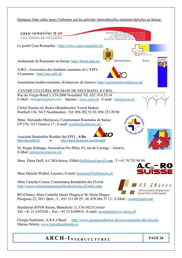 A R C H - I N T E R C U L T U R E L PAGE 26 Quelques links utiles pour s'informer sur les activités interculturelles rouma...