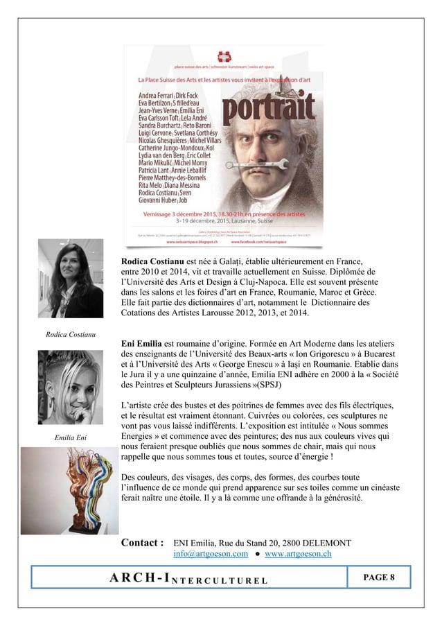 A R C H - I N T E R C U L T U R E L PAGE 8 Rodica Costianu est née à Galați, établie ultérieurement en France, entre 2010 ...
