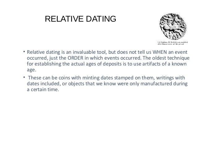 archaeological relative dating methods • this method is a useful technique for dating fossils and archaeological  methods of radiometric dating,  both relative and absolute dating methods.