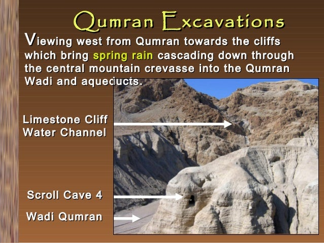 Qumran Excavations  V iewing west from Qumran towards the cliffs  which bring spring rain cascading down through the centr...