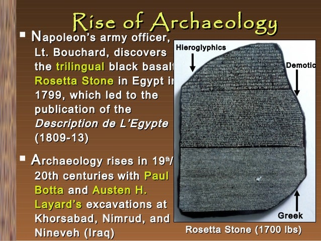   Rise of Archaeology  N apoleon's army officer,  Hieroglyphics  Lt. Bouchard, discovers the trilingual black basalt Rose...