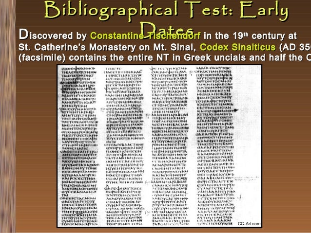 Bibliographical Test: Early Dates D iscovered by Constantine Tischendorf in the 19 century at th  St. Catherine's Monaster...