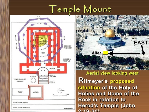 Temple Mount  EAST Altar  Aerial view looking west  R itmeyer's  proposed situation of the Holy of Holies and Dome of the ...