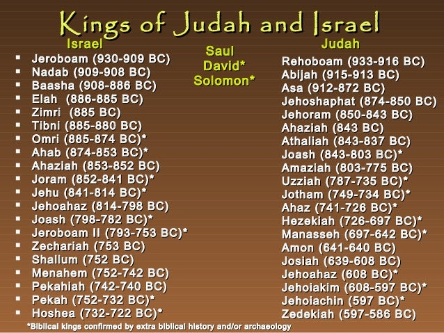 Kings of Judah and Israel Israel                       Jeroboam(930-909 BC) Nadab (909-908 BC) Baasha...