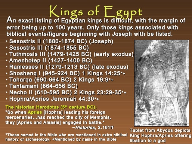 Kings of Egypt  A n exact listing of Egyptian kings is difficult, with the margin of  error being up to 100 years. Only th...