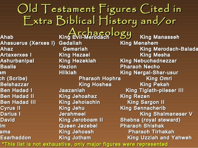Old Testament Figures Cited in Extra Biblical History and/or Archaeology King Manasseh King Evil-Merodach  Ahab Ahasuerus ...
