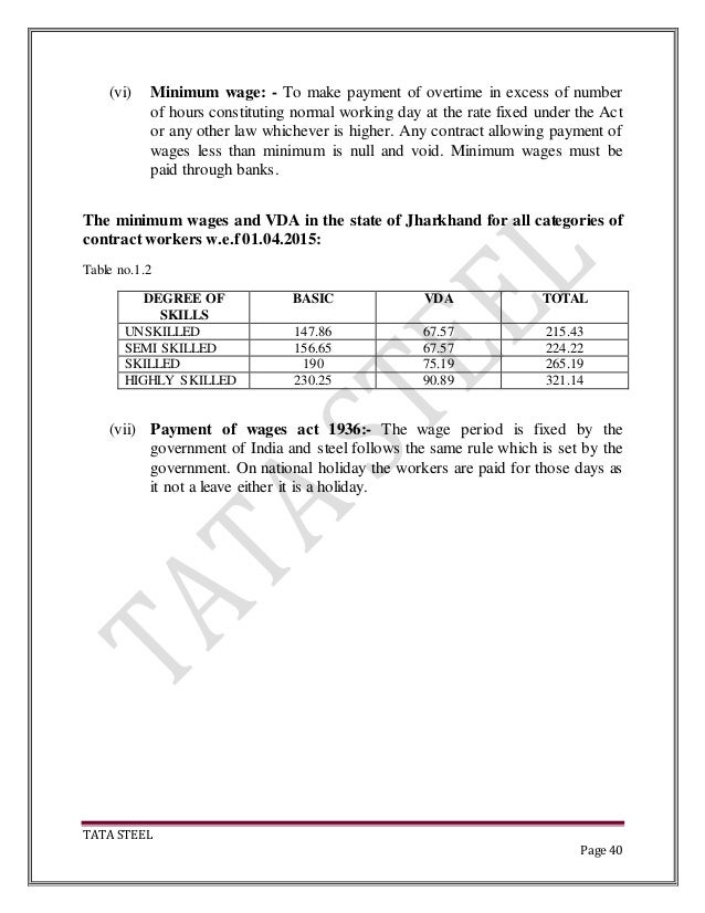 Tata steel project on contract labour management 40 tata steel page 40 vi minimum wage altavistaventures Gallery