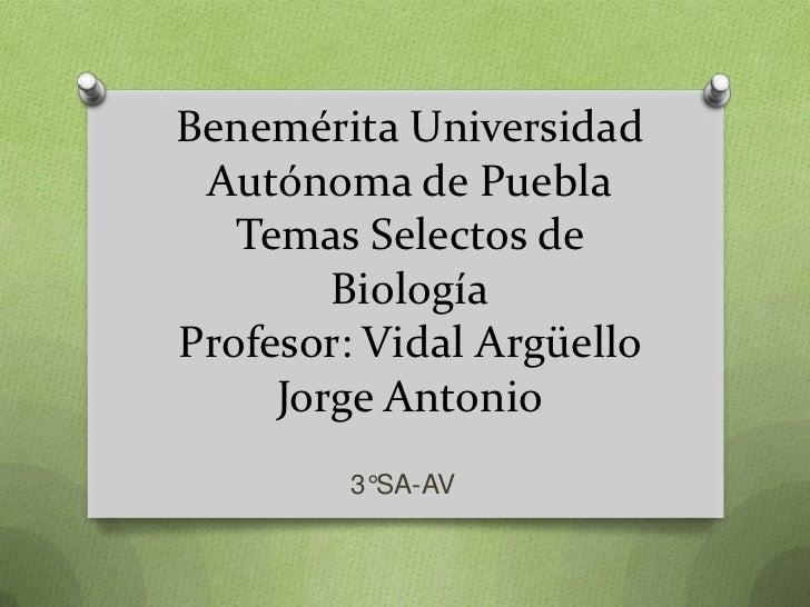 Benemérita Universidad Autónoma de Puebla   Temas Selectos de        BiologíaProfesor: Vidal Argüello     Jorge Antonio   ...