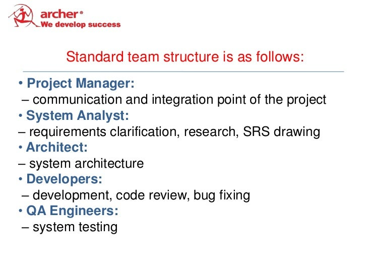 Standard team structure is as follows:• Project Manager: – communication and integration point of the project• System Anal...