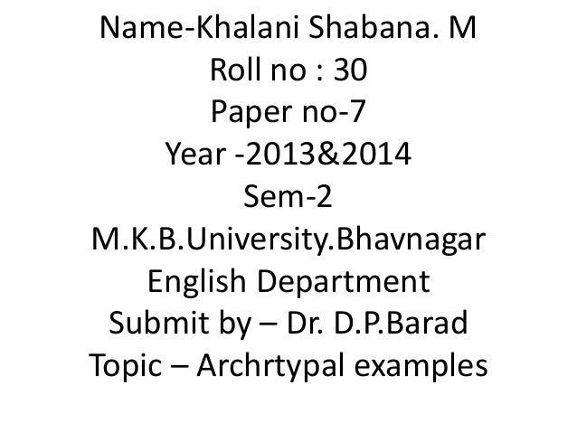 Name-Khalani Shabana. M Roll no : 30 Paper no-7 Year -2013&2014 Sem-2 M.K.B.University.Bhavnagar English Department Submit...
