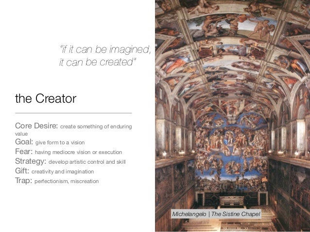 the Creator Core Desire: create something of enduring value  Goal: give form to a vision  Fear: having mediocre vision or ...