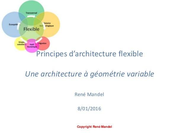 Principes d'architecture flexible Une architecture à géométrie variable René Mandel V0 8/01/2016 Voir aussi : Architecture...