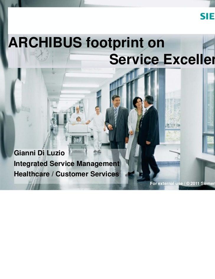 ARCHIBUS footprint on            Service ExcellenceGianni Di LuzioIntegrated Service ManagementHealthcare / Customer Servi...