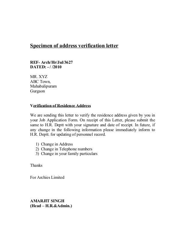 Archies 63 specimen of employment verification letter altavistaventures Choice Image