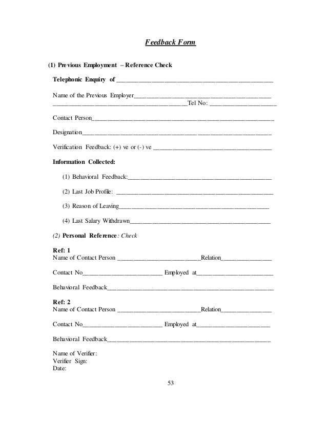 ... 53. 53 Feedback Form (1) Previous Employment ...  Prior Employment Verification Form