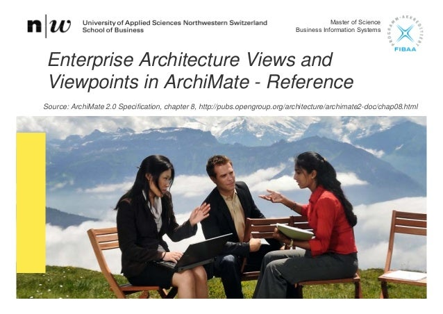 Master of Science Business Information Systems Enterprise Architecture Views and Viewpoints in ArchiMate - Reference Sourc...