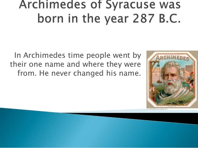 What is Archimedes' full name?