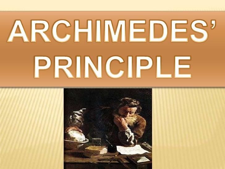 ARCHIMEDES'PRINCIPLE<br />