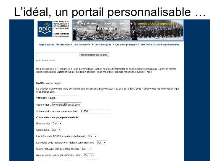 L'idéal, un portail personnalisable …                 Archires - ENSAG 1 juillet 2009