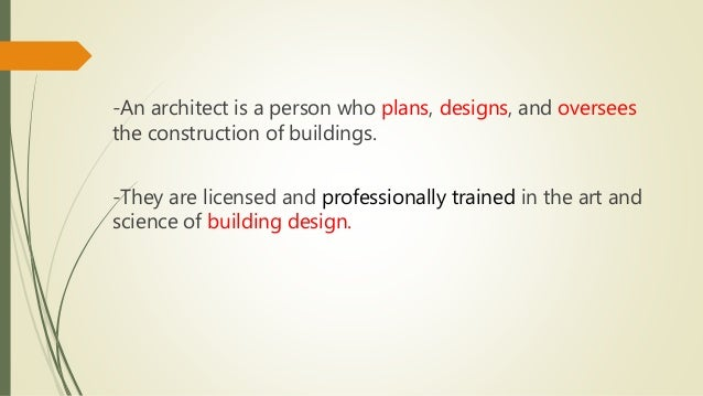 role of an architect The role of architect was usually one with that of master mason the architecture of a software system is a metaphor, analogous to the architecture of a building.